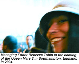 Rebecca at the naming of the Queen Mary 2
